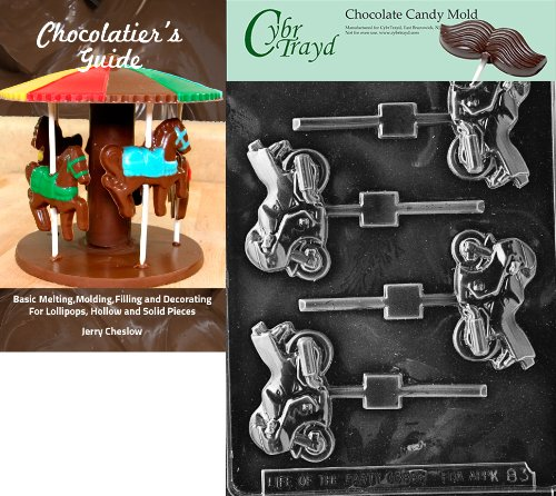 Cybrtrayd Sportsbike Lolly Kids Chocolate Candy Mold with Chocolatiers Guide Instructions Book Manual