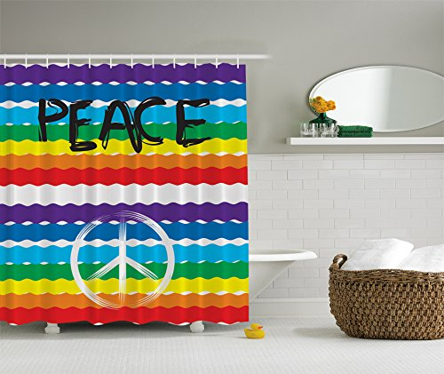Ambesonne Hippie Bohemian Shower Curtain Yoga Decor, Peace Sign Symbol Rainbow Flag Unique Colorful Theme Multicolor Stripes Love Bathroom Fabric, 69x70 Inches Purple Blue Green Yellow Red White
