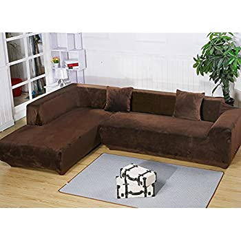 getmorebeauty L Shape Sectional Thick Plush Velvet Couch Stretch Sofa Cover  Sofa-Slipcovers (Coffee, L Shape 2+3 Seats)