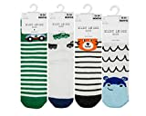 [12-24 Months] Baby Boy Socks Toddler Sock Non Skid Cotton with Grips Anti Slip, 4 Pack
