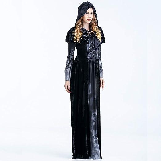 Liny Adulto Disfraz de Halloween Dama Traje de Bruja Mujeres Cosplay Vampiresa Vestido de Calavera: Amazon.es: Ropa y accesorios