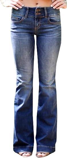 gawaga レディースファッション ハイウエスト ジーンズ ワイド レッグ ストレッチ デニム フレア ベルボトム ジーンズ