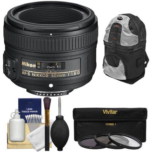 Nikon D2h Set - Nikon 50mm f/1.8 G AF-S Nikkor Lens with Backpack + 3 Filters + Kit for D3200, D3300, D5300, D5500, D7100, D7200, D750, D810 Cameras