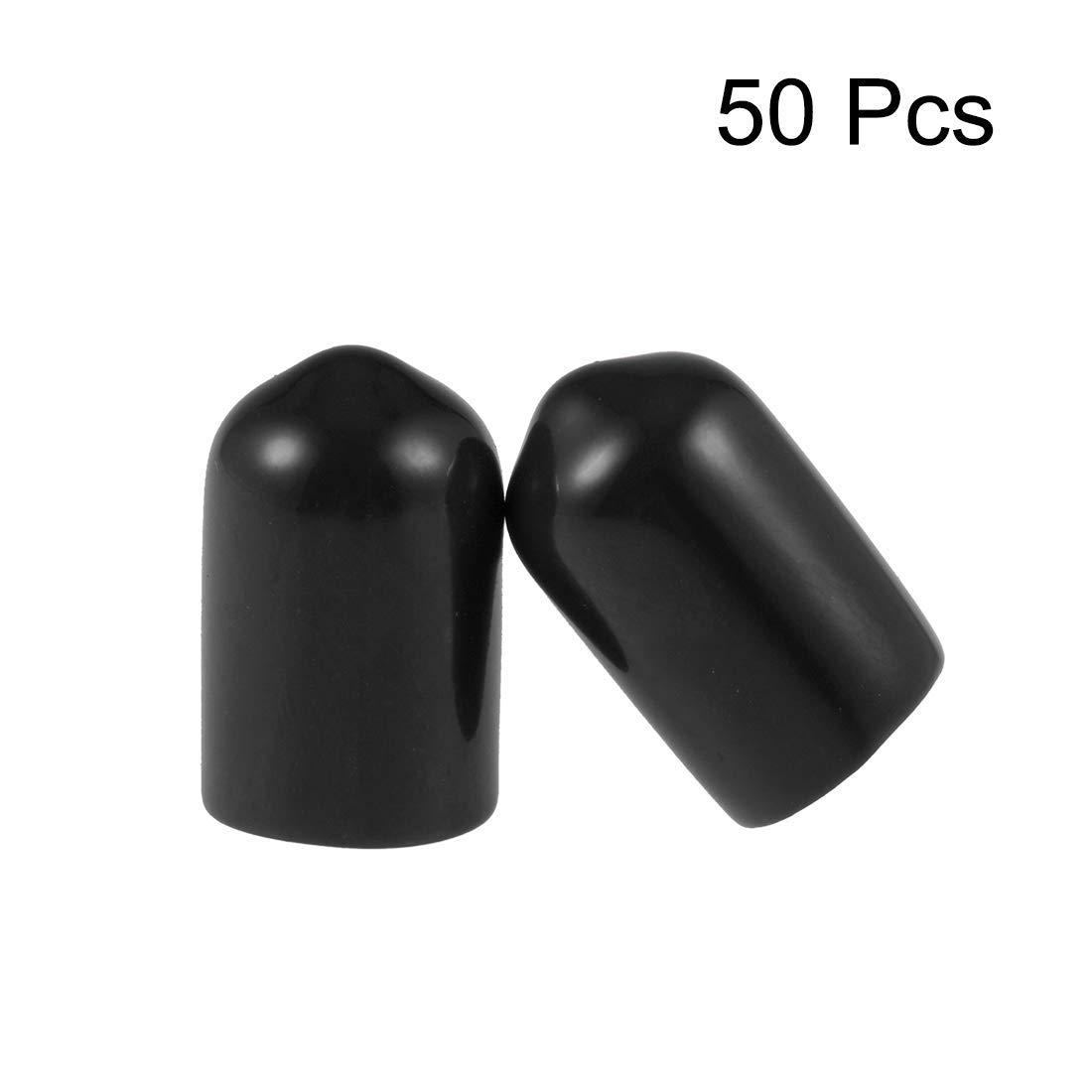 8.5mm ID Screw Thread Protectors Rubber Round end Cap Black Flexible Tube caps Tube tip 50 Pieces