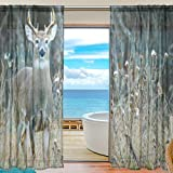 SEULIFE Window Sheer Curtain, Wild Animal Deer