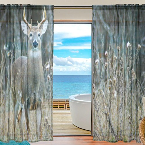 SEULIFE Window Sheer Curtain, Wild Animal Deer Antler Voile Curtain Drapes for Door Kitchen Living Room Bedroom 55x78 inches 2 Panels by SEULIFE
