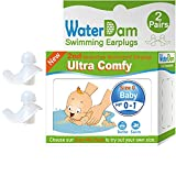 WaterDam Swimming Ear Plugs for Baby Infants Age 0-1yr, 2 Pairs Ultra Comfy Reusable Silicone Waterproof Earplugs, Prevent Swimmer's Ear (Clear Color)
