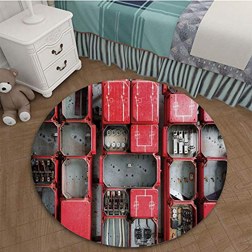 - Bedroom area rugs coffee table Floor Mat Tile Floor cover Indoor Outdoor Mat 2.62 Ft Diameter Industrial Decor,Fuse Cabinet Close Up Industrial Type Junction Cables Box Electricity Decorative,Red Whit