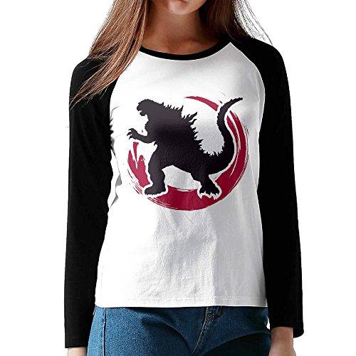 Loneki Women's GODZILLA Resurgence Baseball Raglan T-Shirts (Robin Custome)