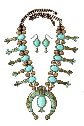 Blazin Roxx Women's Copper Starburst Concho Jewelry Set, Copper, Turquoise, OS