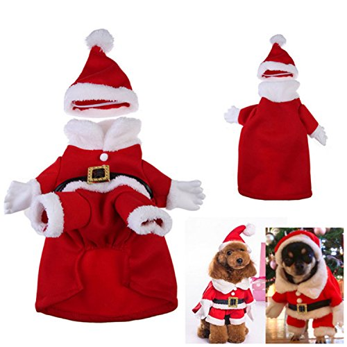 Mangostyle Dog Cat Pet Christmas Costume Santa Claus Suit Clothes with a Cap (M, (Unique Family Costumes Ideas)