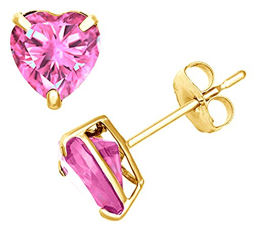 Simulated Pink Tourmaline Heart Shape Stud Earrings In 14K Yellow Gold Over Sterling Silver (2 Ct) ()