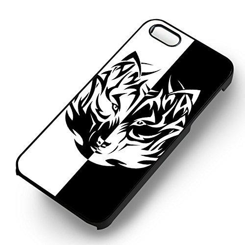 Noir et blanc Wolf pour Coque Iphone 6 et Coque Iphone 6s Case (Noir Boîtier en plastique dur) F5B1TJ