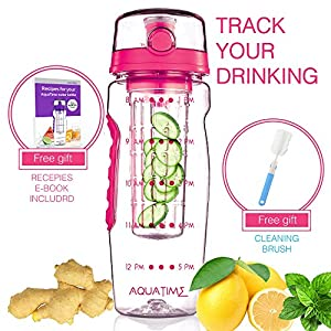 Time marked Fruit Infuser water bottle AQUATIME Large 32 oz – free brush for easy clean – Convenient to carry - Leak proof - FDA approval BPA free & Eco – friendly Tritan copolyester plastic (Pink)