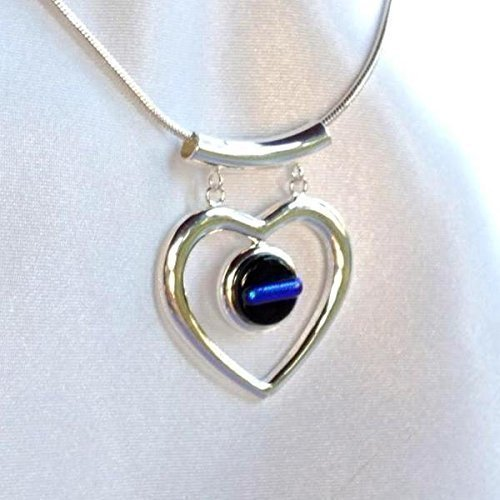 THIN BLUE LINE Police Ladies Glass Jewelry Pendant Necklace Silver Heart Dangle Dichroic (Dichroic Glass Necklace)
