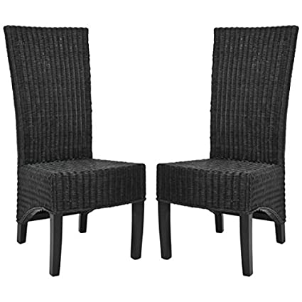 amazon com safavieh home collection aaron black wicker side chair