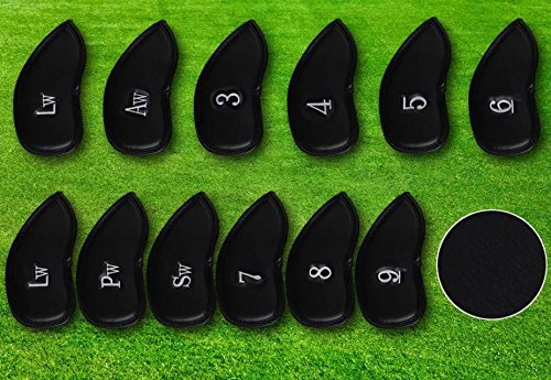 Paddsun 12pcs Thick Synthetic Leather Golf Iron Head Covers Set Headcover Fit All Brands Titleist, Callaway, Ping, Taylormade, Cobra, Nike, Etc.