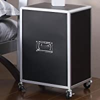 Coaster Home Furnishings Contemporary Nightstand, Black and Silver