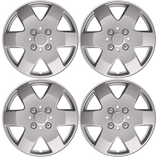 14' Silver Hubcaps (4pc Set of 14' Silver Lacquer Replica Hub Caps Cover for Steel Wheel Covers Cap)