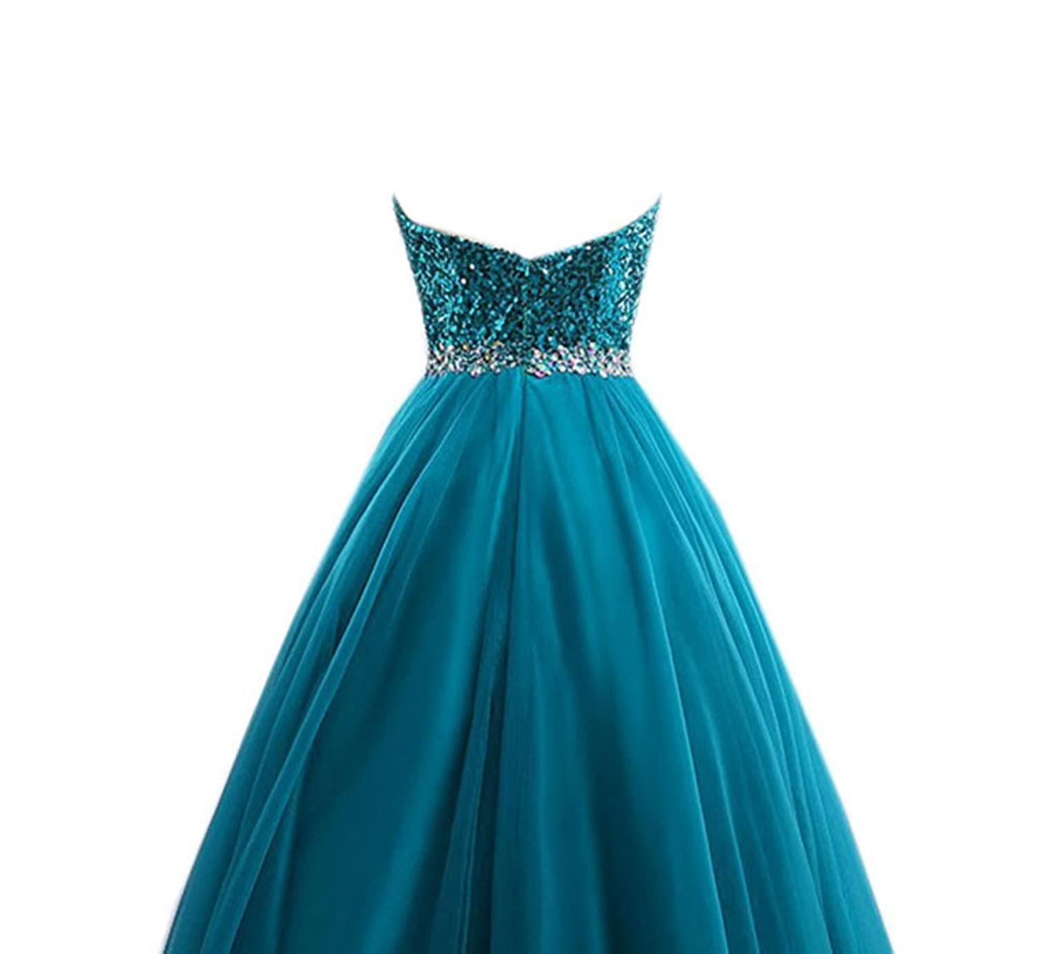 AngelDragon Elegant Strapless Long Tulle Sequins Evening Dress Ball Gowns
