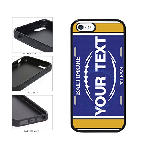 (BleuReign(TM) Personalized Custom Name Football Baltimore License Plate TPU RUBBER SILICONE Phone Case Back Cover For Apple iPhone 5 5s and iPhone SE)