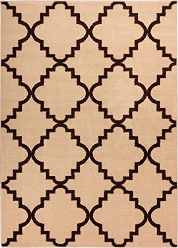 Ivory Shade 9×13 ( 9'3 x 12'6 ) Area Rug Trellis Morrocan Modern Geometric Wavy Lines Area Rug Living Dining Room Bedroom Kitchen Carpet Contemporar…
