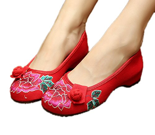 Avacostume Femmes Toile Broderie Oxfords Semelle Casual Chaussures Plates Rouges