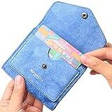 Borgasets Women's RFID Blocking Small Compact Bifold Leather Pocket Wallet Ladies Mini Purse Denim Blue