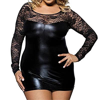 Youyamei Women (M-7XL) Clubwear Faux Leather Outfits Sexy Lingerie Chemises Babydoll