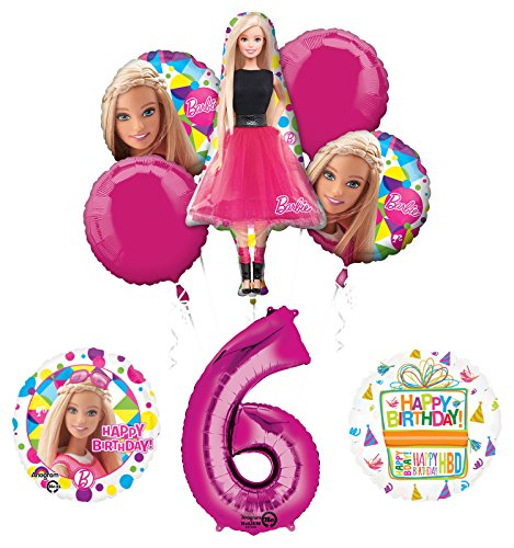 Barbie 6th Birthday Party Supplies and Balloon Bouquet ()