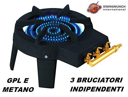 Hornillo con triple quemador de gas GLP y metano, de hierro fundido, diá metro 300 mm diámetro 300mm STARKEMUNICH