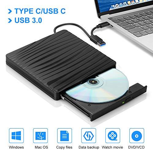 External DVD Drive,PAKITE USB 3.0 Type-C Dual Port External CD/DVD Drive for Laptop Desktop PC CD External Burner,High Speed Data Transfer Support WIN98/XP/WIN7/WIN8/WIN10/ Linux/Vista/Mac OS