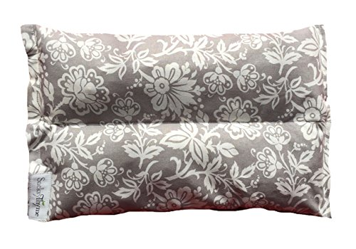 Ultra Premium All Natural Microwavable Aromatherapy Heating Pads - Certified Organic Herbs, Organic Flaxseed & Cherry Pit Filler- Medium- Grey Floral