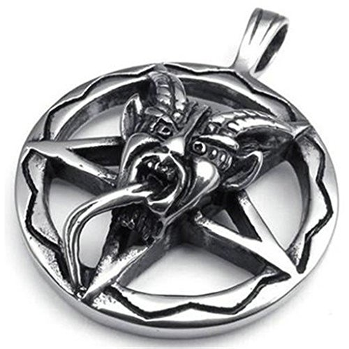 Ebay Costume Devil Woman (Epinki Unisex Pendant, Stainless Steel Star Devil Necklace Black Silver)