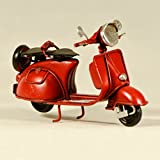 EliteTreasures Metal Collectible Red Scooter Vespa Miniature - Vintage Style Vespa Figurine - Decorative Collectible Scooter Model - Metal Vespa - Cute Vespa Gift - Metal Craft Miniature Scooter