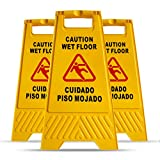 MYSBIKER Caution Wet Floor Sign, 3 Pack Floor Safety Sign, Cuadado Piso Mojado, 2-Sided Fold-Out 6230cm with Both English and Spanish to Avoid Slip &Fall Accident