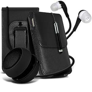 Samsung Galaxy Express 2 protección pu estuche de cuero de la correa de la pistolera del tirón del sostenedor de la cubierta del caso, Retractable Stylus Pen, Jack de 3,5 mm auriculares auriculares auriculares y mini recargable portátil de 3,5 mm Cápsula Viajes Bass Speaker Jack Negro por Spyrox