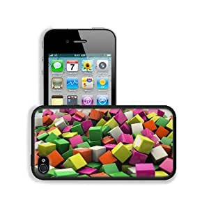 Blocks Cubes Digital Art 3D Colors Apple iPhone 4 / 4S Snap Cover Premium Leather Design Back Plate Case Customized Made to Order Support Ready 4 7/16 inch (112mm) x 2 3/8 inch (60mm) x 7/16 inch (11mm) MSD iPhone_4 4S Professional Cases Touch Accessories