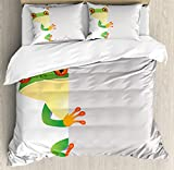 Reptiles Queen Size Duvet Cover Set by Ambesonne, Funky Frog Prince with Big Eyes on the Wall Camouflage Nursery Reptiles Decor, Decorative 3 Piece Bedding Set with 2 Pillow Shams, Green Yellow Orange