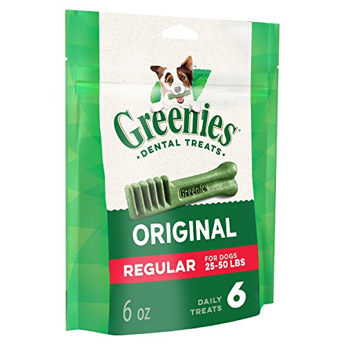GREENIES Original Regular Natural Dog Dental Care Chews Oral Health Dog Treats, 6 oz. Pack (6 Treats)