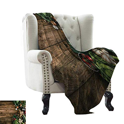 LsWOW Plush Blanket Harvest,Various Vegetables on Rustic Wooden Table Onions Potatoes Zucchini Cherry Tomatoes,Brown Green Lightweight Microfiber,All Season for Couch or Bed 70