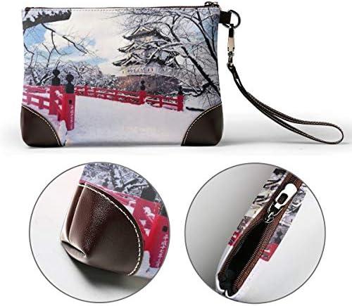 Portefeuilles en cuir véritable pour les femmes fermeture éclair autour du poignet long sac à main vintage gaufrage cuir de vache Embrayage japonais paysages