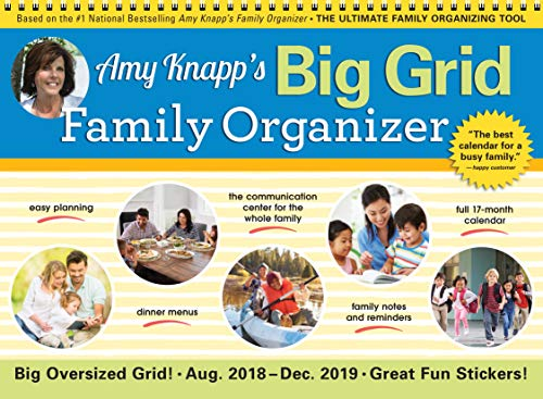 2019 Amy Knapp's Big Grid Family Organizer Wall Calendar: August 2018-December 2019