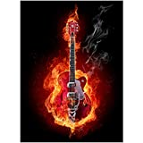 """60"""" X 80"""" Blanket Comfort Warmth Soft Plush Throw for Couch Guitar Flame Red Abstract Artistic"""