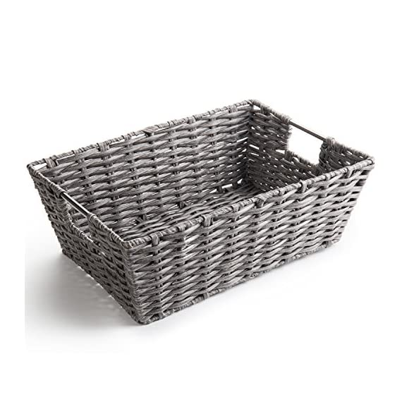 MyGift Decorative Woven Synthetic Wicker Storage Basket with Handles - WICKER STORAGE BASKET: 17-inch synthetic wicker basket with metal frame and handles. RUSTIC ORGANIZATION: Variegated gray wicker creates a stylish weathered look to complement casual decors. WATER-RESISTANT CONSTRUCTION: Polyethylene wicker is durable and ideal for storing wet towels and laundry. - living-room-decor, living-room, baskets-storage - 51YLFHX1AZL. SS570  -