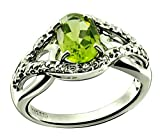 RB Gems Sterling Silver 925 Ring GENUINE GEMSTONE Oval 8x6 mm with Rhodium-Plated Finish, SOLITAIRE Style (8, peridot)