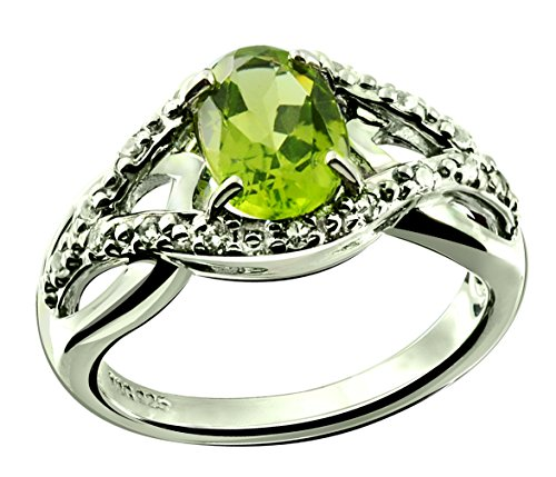 Genuine Stone Ring Peridot (RB Gems Sterling Silver 925 Ring GENUINE GEMSTONE Oval 8x6 mm with Rhodium-Plated Finish, SOLITAIRE Style (5, peridot))