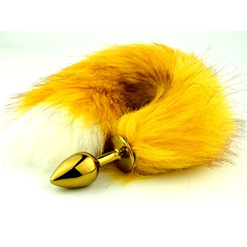 GTAovov New yellow tail butt plug erotic toys fox tail anal plug sexy toy for women metal butt plugs anus stimulator buttplug anal sex by GTAovov