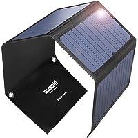 SUAOKI 28W Cargador Panel Solar Portátil Plegable con 3 Puertos de USB de QC 3.0 Carga Rápida, conversión de energía de hasta 23%, resistente al agua IPX4 para Teléfono móvil (negro)