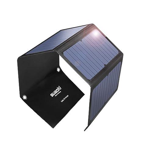 SUAOKI 28W Cargador Panel Solar Portátil Plegable con 3 Puertos de USB de QC 3.0 Carga